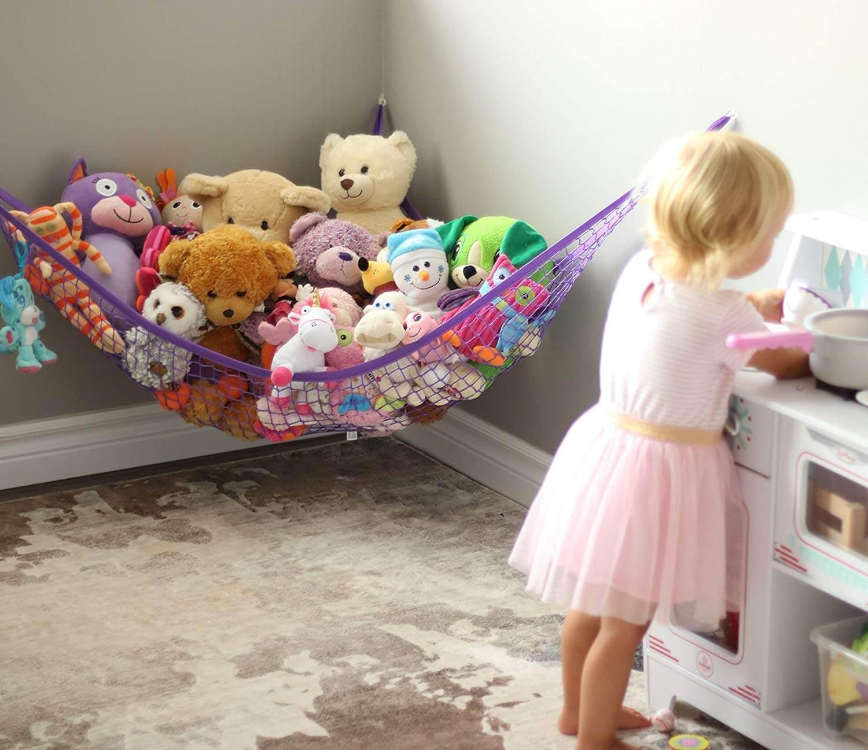 MiniOwls Toy Storage Hammock Black, Large Black D/écor Strong Elastic Teddy Bear Organizer